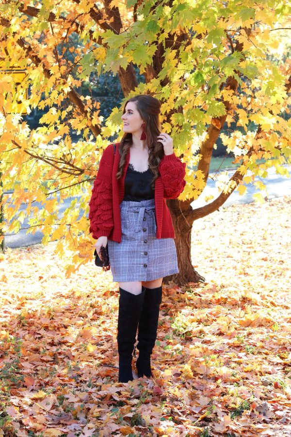 My Favorite Thanksgiving Traditions | Button Up Knot Front Plaid Skirt | SheIn Crochet Bishop Sleeve Marled Cardigan | thanksgiving outfit ideas | thanksgiving outfit ideas casual
