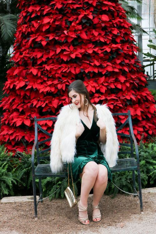 Fluffy Faux Fur Coat | BB Dakota Night Fever Velvet Wrap Dress | green velvet dress | Christmas party outfit | green velvet dress and white fur | how to style a velvet dress | what to wear to a Christmas party| what to wear to a holiday party | glam Christmas outfit