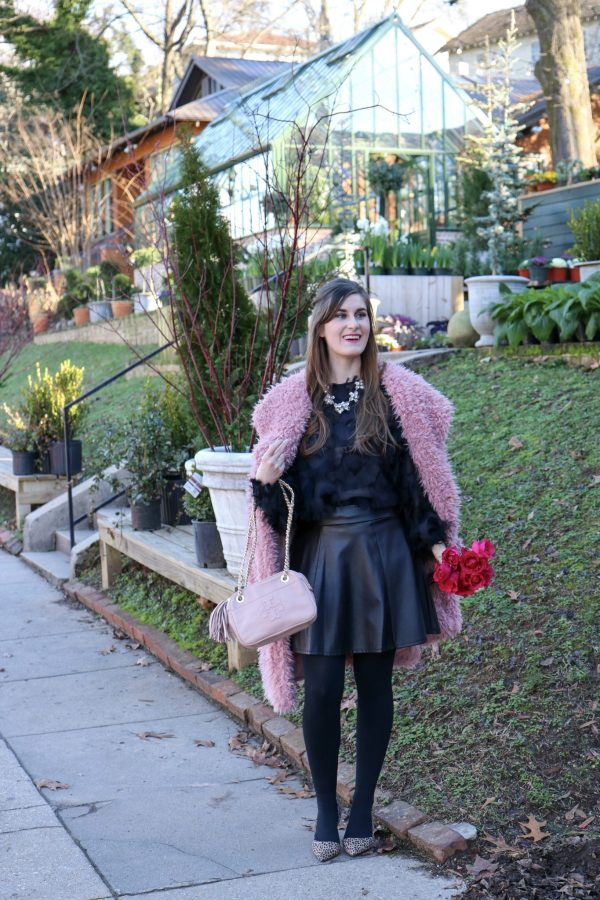 Waterfall Collar Solid Teddy Coat | Shein Waterfall Collar Solid Teddy Coat | Shen Fringe Patch Mesh Top| blush and pink outfit | valentines day outfit | valentines day outfit casual | valentines day outfit woman | pink teddy coat | pink teddy coat outfit | pink teddy coat street style