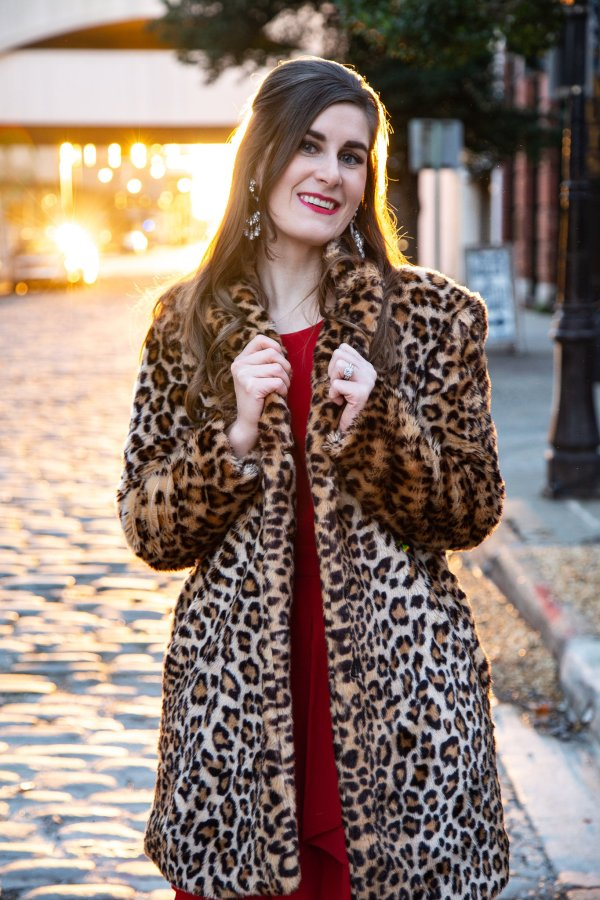 leopard coat outfit | leopard coat and red dress | how to wear a leopard coat | leopard and red | leopard and red street styles | blog anniversary | blog anniversary photoshoot | blog anniversary ideas | what I learned from blogging