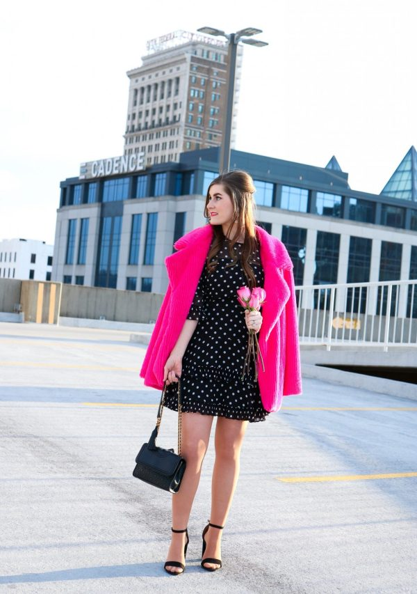 Neon Pink Notch Collar Faux Fur Coat | Keepsake Light Up Georgette Polka-Dot Fit & Flare Mini Dress | 14 Facts about My Marriage | Valentine's Day | Hot pink fur coat and black dress | black and white polka dot dress | ruffled polka dot dress | Valentine's Day outfit