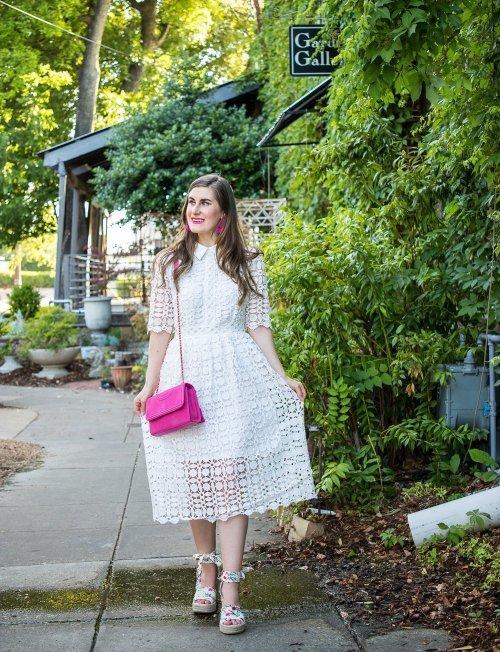 Chicwish Splendid Crochet White Dress | 3 ways to style a little white dress | how to dress up a little white dress | white to make a little white dress casual | adding color to a little white dress |white dress outfit | white dress | white dress with hot pink | dressy white dress