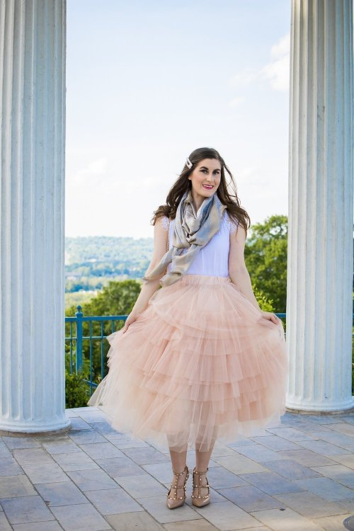 louis vuitton MONOGRAM SHINE SHAWL | Love Me More Layered Tulle Skirt in Nude Pink | Tulle skirt outfit | blush pink skirt and white | tulle skirt and scarf | Paris inspired fashion