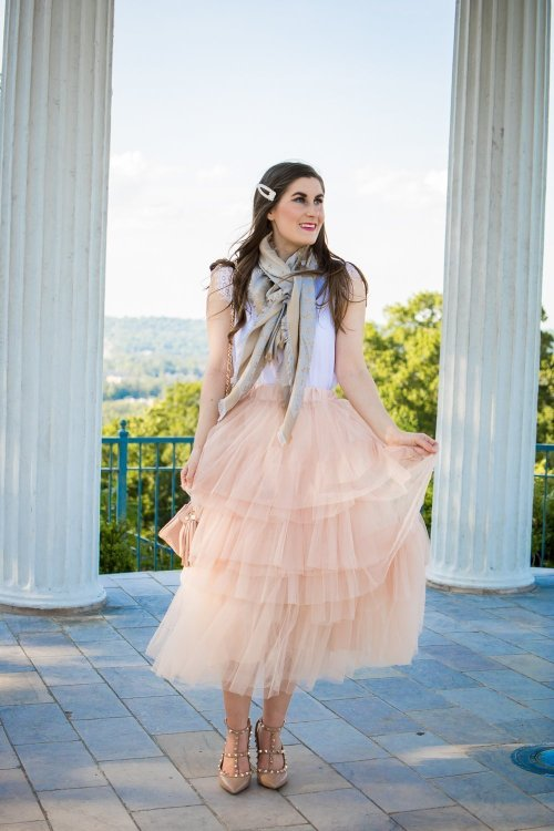 louis vuitton MONOGRAM SHINE SHAWL   Love Me More Layered Tulle Skirt in Nude Pink   Tulle skirt outfit   blush pink skirt and white   tulle skirt and scarf   Paris inspired fashion   pearl hair clip