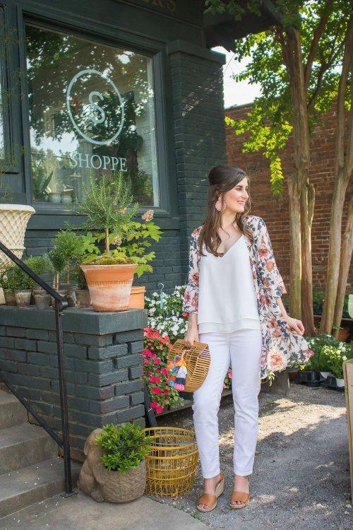 SHEINFlounce Sleeve Floral Kimono   Tie Front Ruffle Hem Gingham Shorts   3 ways to style a kimono
