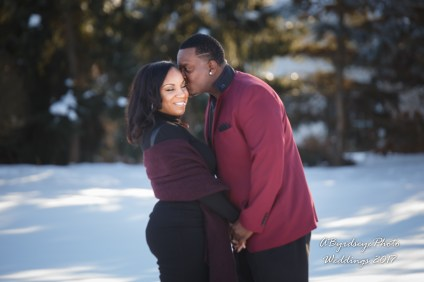 Engaged couple in Maumee Ohio snow day