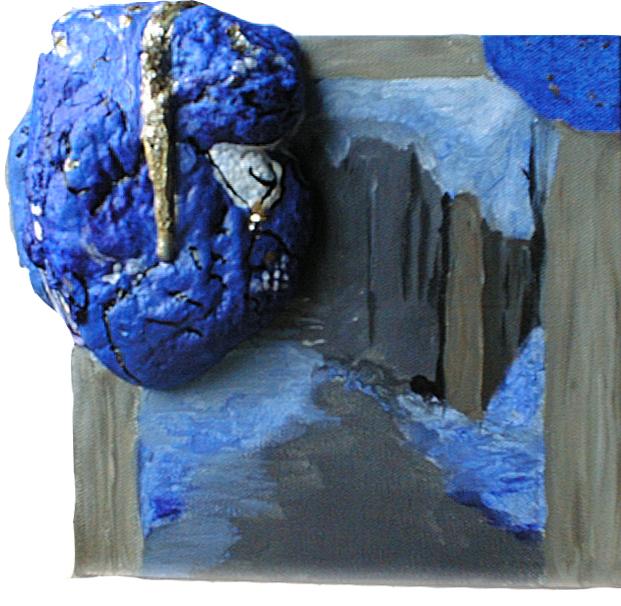 Lapis lazuli, ultramarin, reliefmaleri, PU-lim,A.C.Rosmon,blå, blue,guld,pyrit