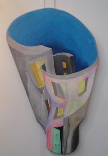Sammenflettet betonbyggeri,surrealisme,A.C.Rosmon, ikke firkantet maleri