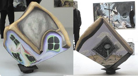 Fritstående skulpturelt maleri,instalation,blandform,A.C.Rosmon, akryl maleri, surrealisme, eventyr-surrealisme