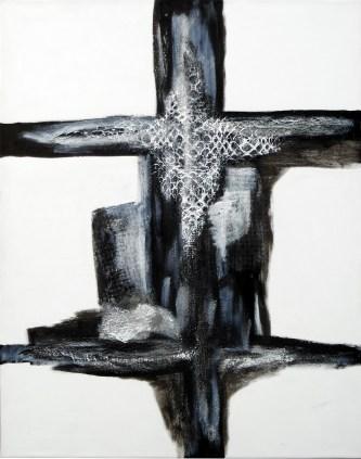 mixed media, sort/hvid, akrylmaleri, maleri surrealisme