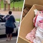 Para sustentar família, mãe vende doces no sinal com bebê de 2 meses em caixa de papelão