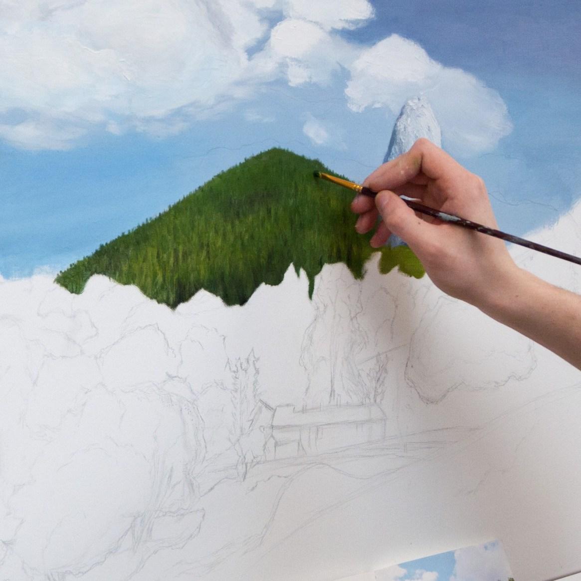 image d'une peinture sur papier en cours de réalisation