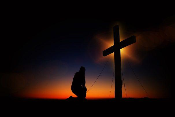 cross, sunset, humility