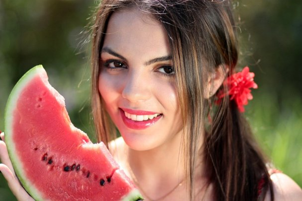 girl, melon, red