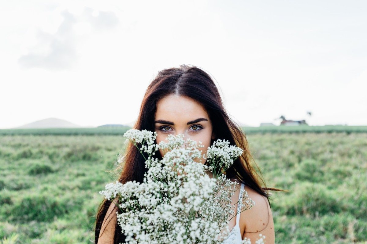 young woman, flowers bouquet, woman