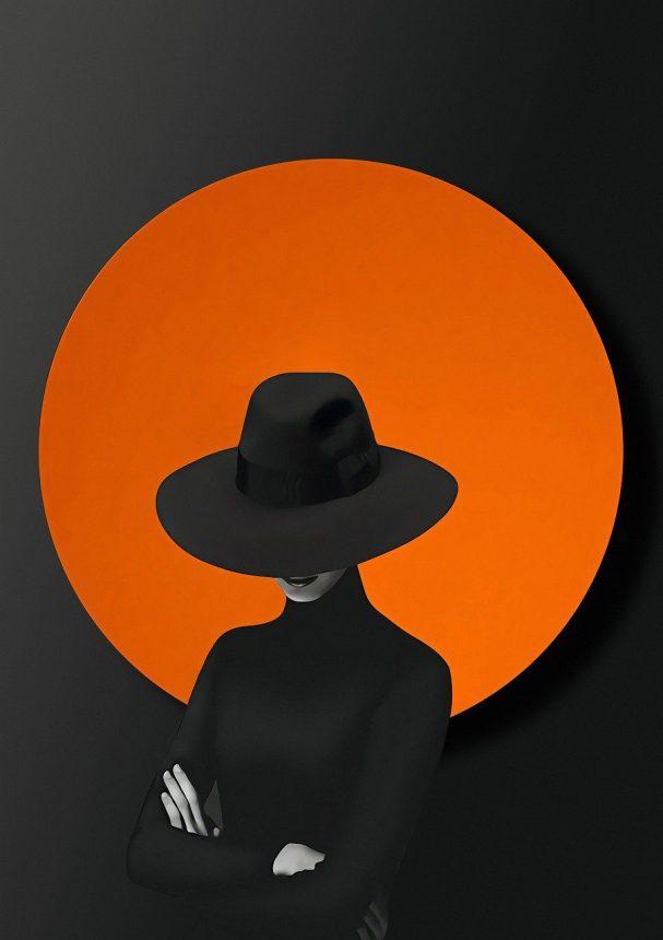 circle, woman, hat
