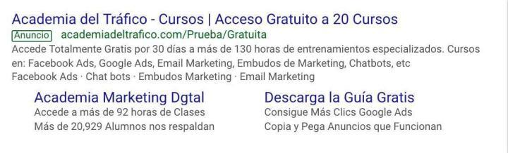 Anuncio Google Ads Academia del Tráfico Web