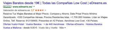 Anuncio en Google Ads con % específicos