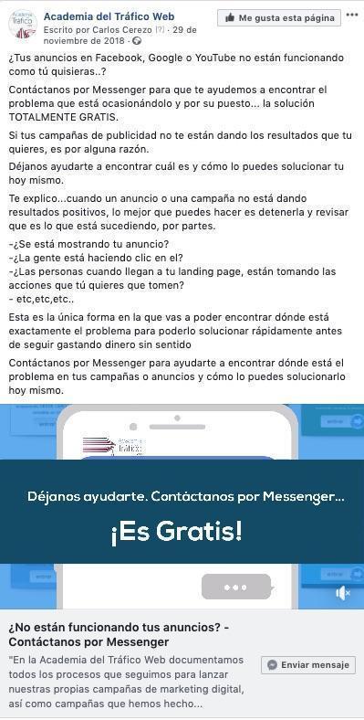 Anuncios en Messenger Facebook Ads