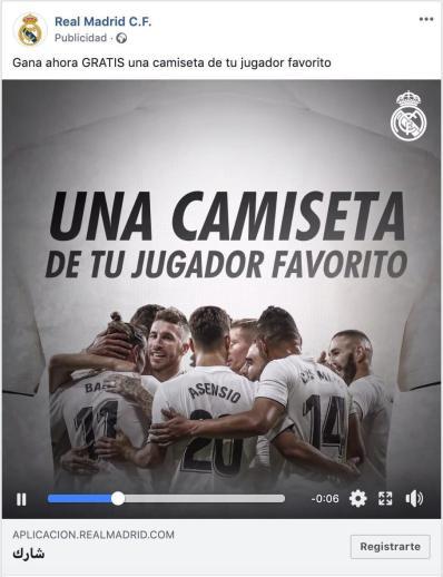 Publicidad en Facebook Ads del real madrid