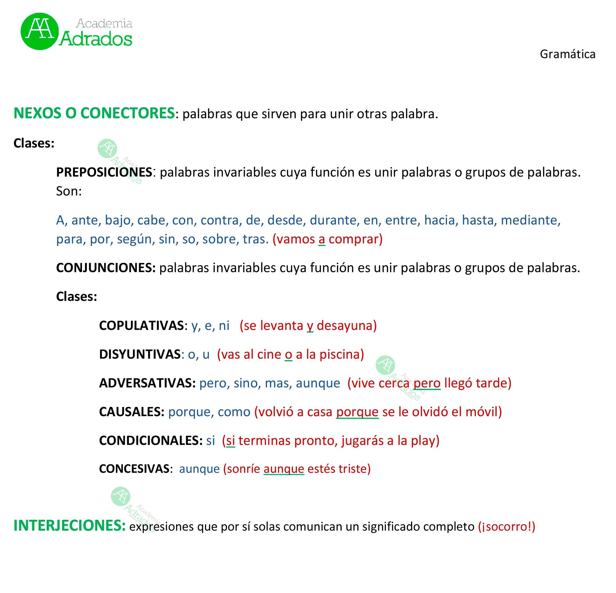 conectores e interjección