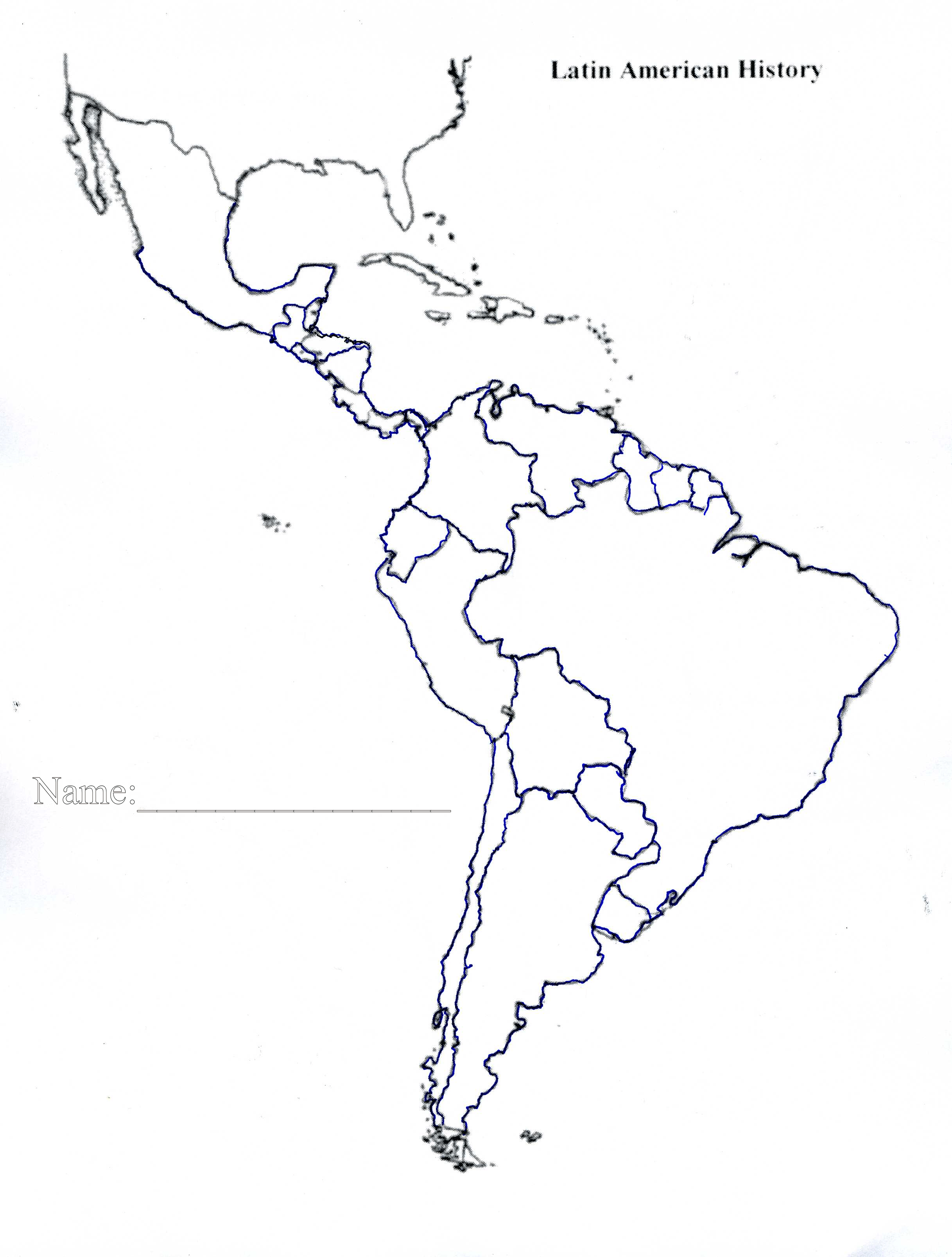 Blank Outline Map Of Latin America