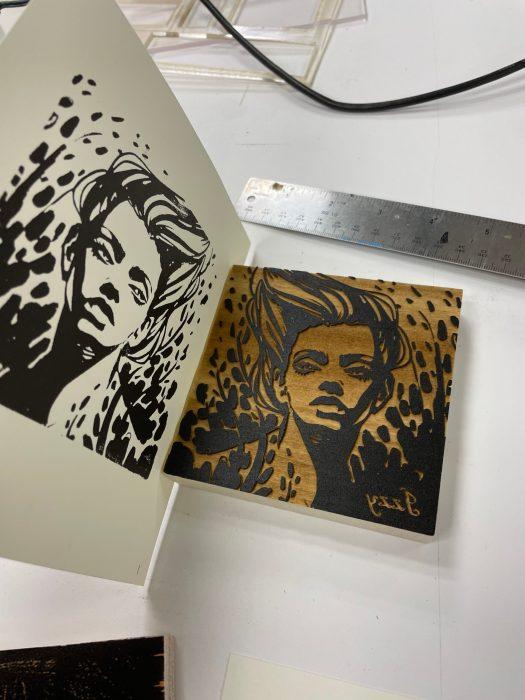 sample made from Leigh Ann Beavers' printmaking class
