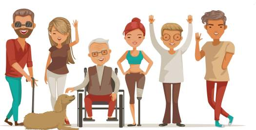clip art of a blind man with a cane, woman with a hearing aid, a wheelchair user, a woman with a prosthetic limb, an older person, and a man with a limb difference, all standing together