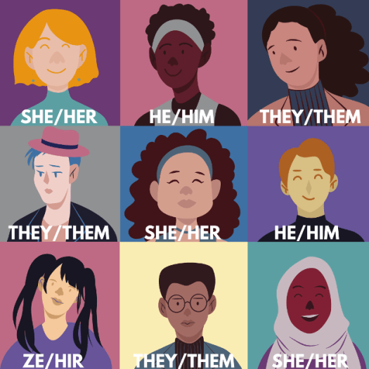 3x3 grid of various faces representing different ethnicities, ages, and genders, with different preferred pronouns