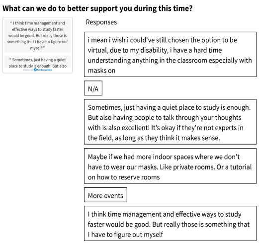 """student responses to """"what can we do to better support you?"""""""
