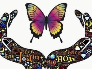 représentation d'un papillon entre les mains