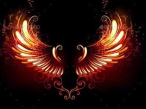 ailes d'ange lumineux au milieu et plein d'énergie