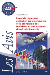 Avis n°2 : Projet de règlement européen sur les enquêtes et la prévention des accidents et des incidents dans l'aviation civile