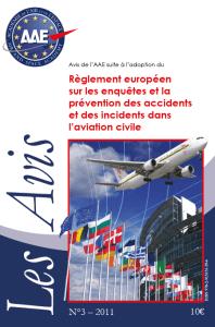 Avis n°3 : Règlement européen sur les enquêtes et la prévention des accidents et des incidents dans l'aviation civile