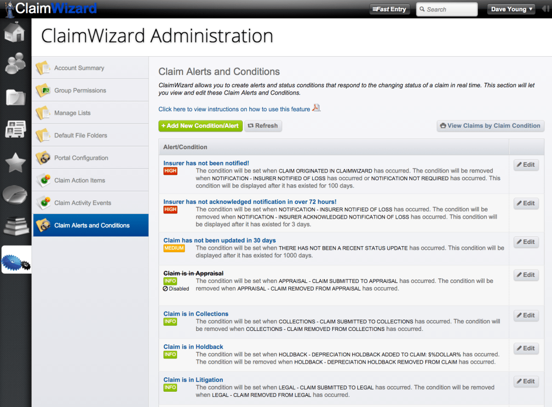 ClaimWizard - Admin Tab - Claim Alerts and Conditions