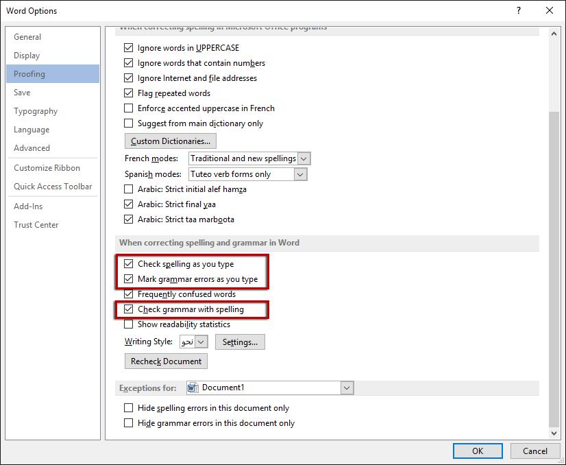 التدقيق الإملائي والتدقيق النحوي في Microsoft Word وورد