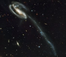 A 'wallpaper' of distant galaxies is a stunning backdrop for a r