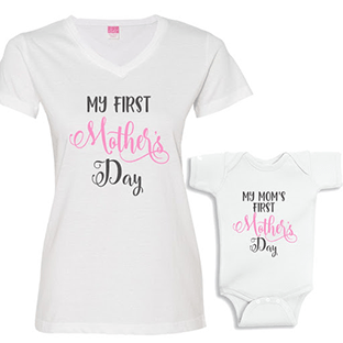 """Mother's Day design ideas: matching """"My First Mother's Day"""" T-shirt and babygrow amd"""