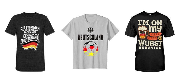 Facebook Ads Translation Guide: three examples of T-shirts with German messaging