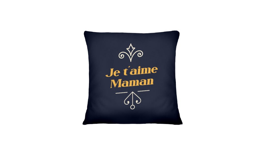 Mother's Day presents: cushion with custom text in French