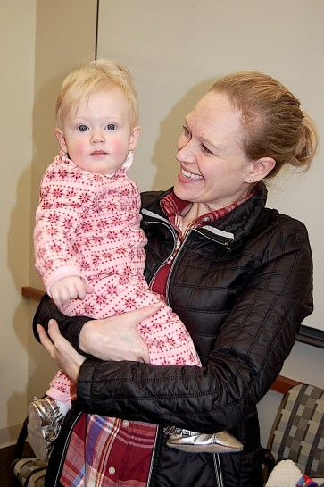 Graduate student Kristin Wurster shows off her daughter, Ellen.