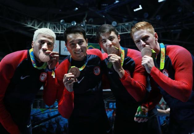 USA Olympic fencers - men's foil team winning bronze at Rio 2016
