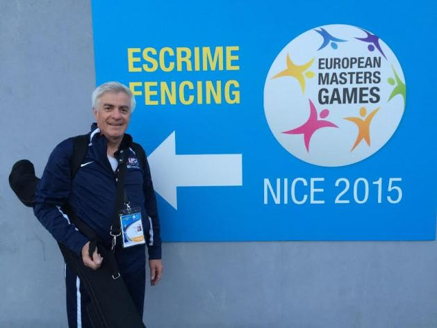 Alan Buchwald, a veteran fencer, at the European Masters Games 2015 in Nice, France