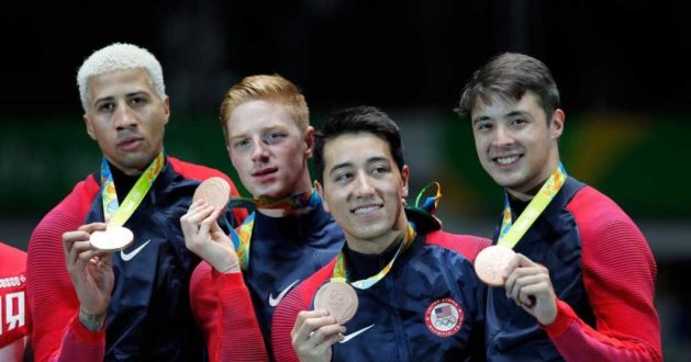 What does it take to become a great fencer? Picture of USA men's foil squad winning Rio Bronze