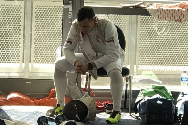 Russian Fencer Timur Safin Contemplates His Lost to Race Imboden at Anaheim Grand Prix 2018 - 7 points of failure in fencing competition