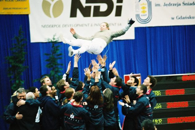 "Cathy Zagunis: This photo is a little grainy but that was the quality of camera's ""back then'! It was her gold medal win at Junior Worlds in Gdansk 2001 where two days before she won cadets and the following day won Junior team---sort of the start of her journey!"