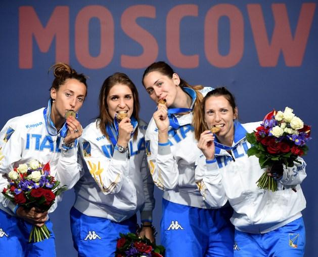 Moscow 16 luglio2015   World Championships VII day - Eliza Di Francisca, Arianna Errigo, Martina Batini, Valentina Vezzali.   Photo Augusto Bizzi