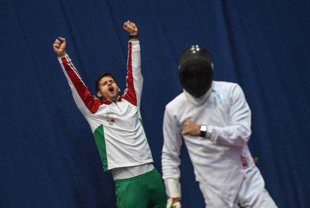 Gergely Siklosi cheering his teammates