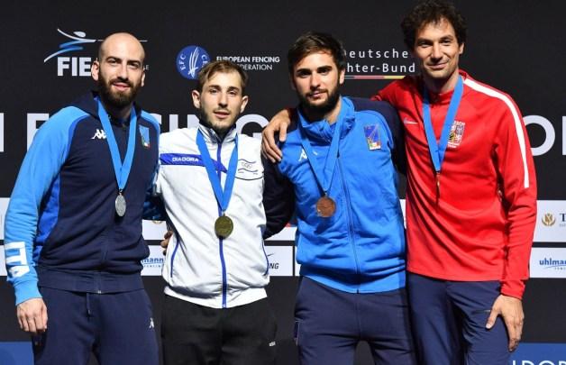 2019 European Championship Podium - Yuval Freilich - Gold, Andrea Santarelli - Silver, Enrico Garozzo and Jiri Beran - Bronze.