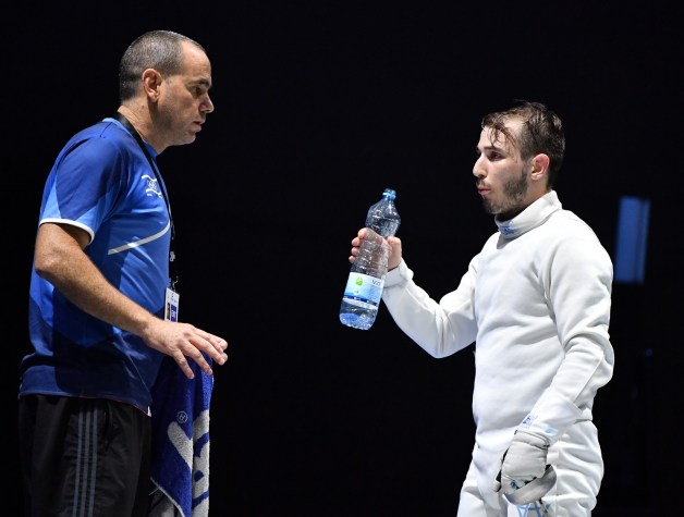 Yuval Freilich with his coach Ohad Balva